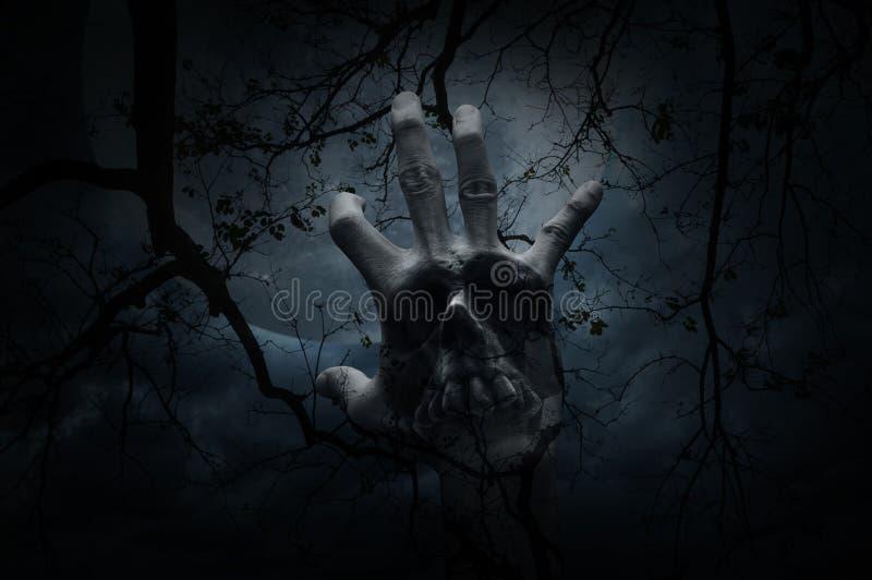 手混合两次曝光与人的头骨的在死的树, m 免版税库存图片