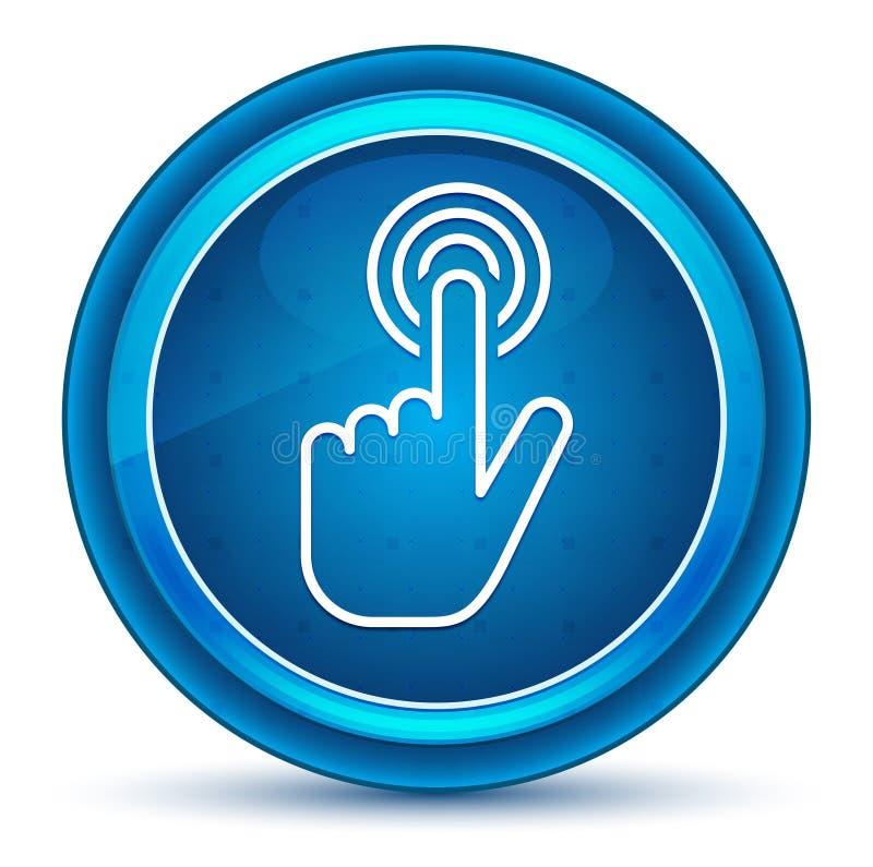 手游标点击象眼珠蓝色圆的按钮 库存例证