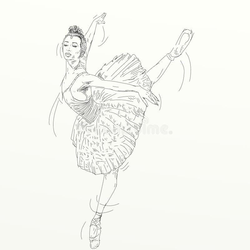 手漂浮在天空中的舞蹈舞蹈家 库存例证