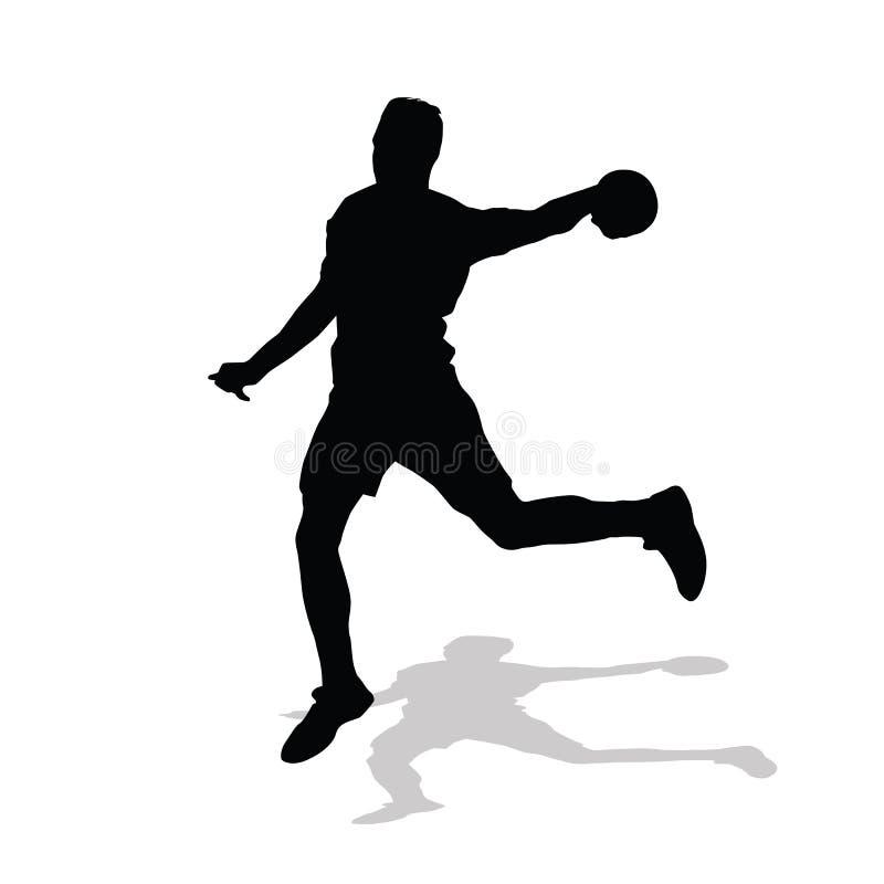 手球球员投掷球对目标 向量例证