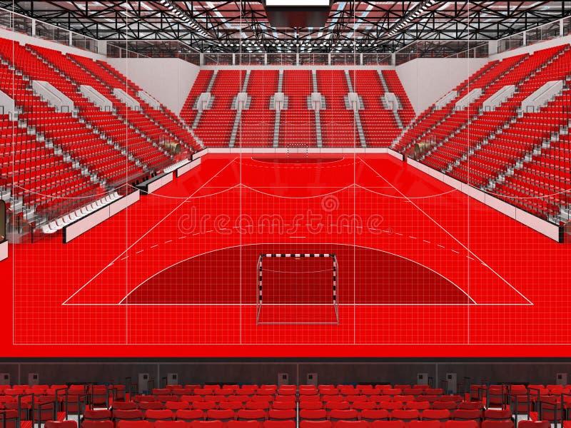 手球的竞技场与红色位子和VIP箱子- 3D回报 库存例证