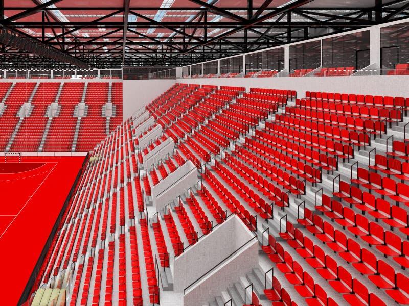 手球的竞技场与红色位子和VIP箱子- 3D回报 皇族释放例证