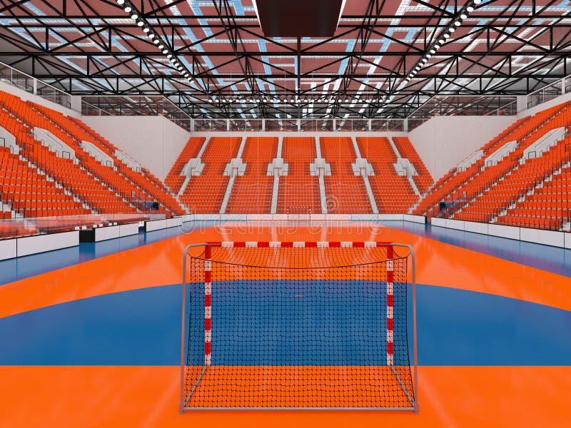 手球的美好的竞技场与橙色位子和VIP箱子- 3d回报 向量例证