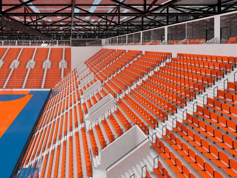 手球的美好的竞技场与橙色位子和VIP箱子- 3d回报 皇族释放例证