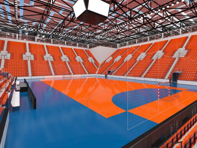 手球的美好的竞技场与橙色位子和VIP箱子- 3d回报 库存例证