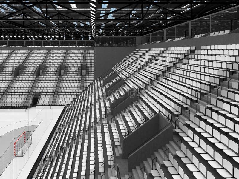 手球的美好的竞技场与白色位子和VIP箱子- 3D回报 皇族释放例证