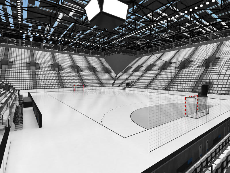手球的美好的竞技场与白色位子和VIP箱子- 3D回报 库存例证