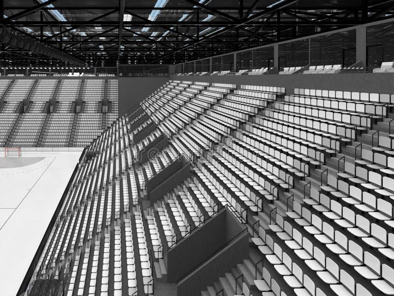 手球的美好的竞技场与白色位子和VIP箱子- 3D回报 向量例证
