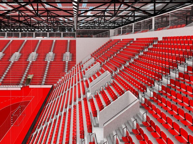 手球的美好的竞技场与红色位子和VIP箱子- 3D回报 库存例证
