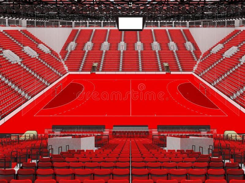 手球的美好的竞技场与红色位子和VIP箱子- 3D回报 向量例证