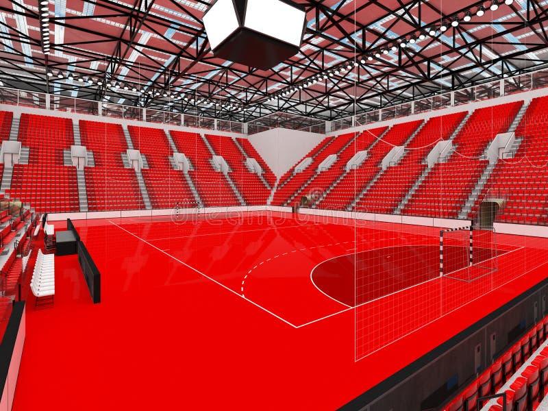 手球的美好的竞技场与红色位子和VIP箱子- 3D回报 皇族释放例证
