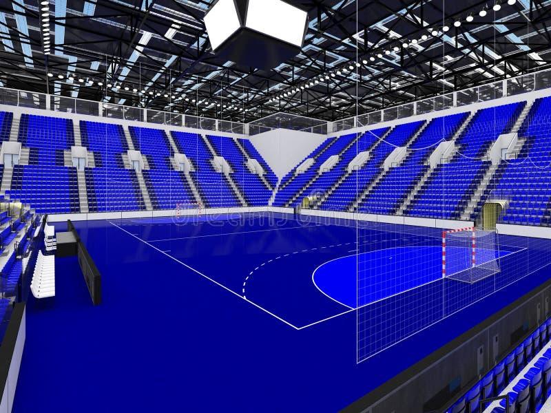手球的美好的竞技场与蓝色位子和VIP箱子- 3d回报 库存例证