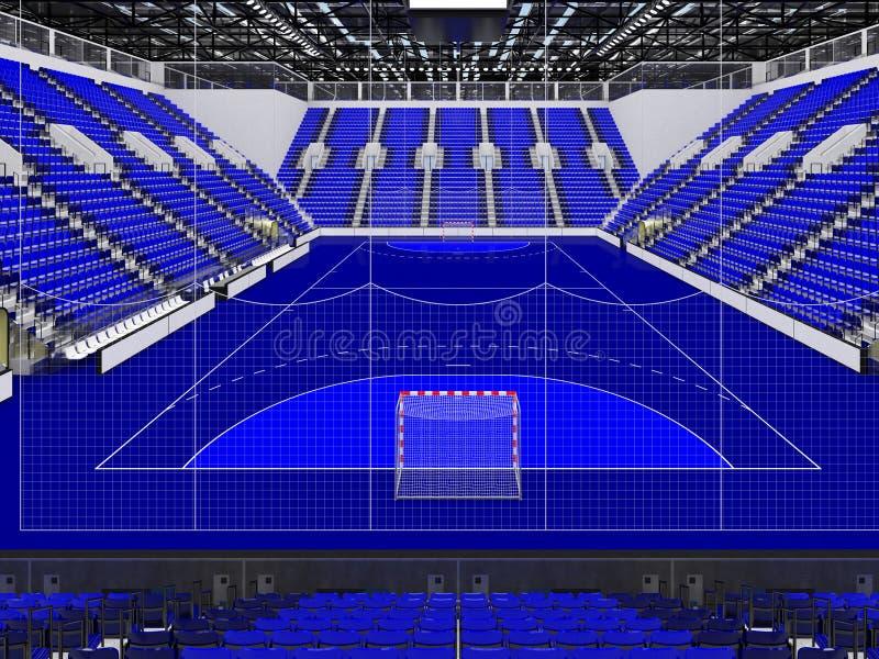 手球的美好的竞技场与蓝色位子和VIP箱子- 3d回报 皇族释放例证