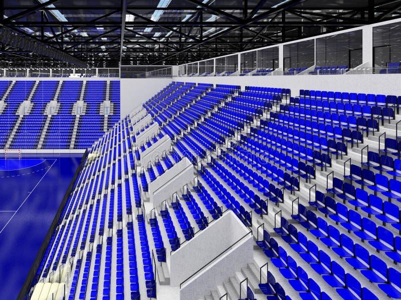 手球的美好的竞技场与蓝色位子和VIP箱子- 3d回报 向量例证
