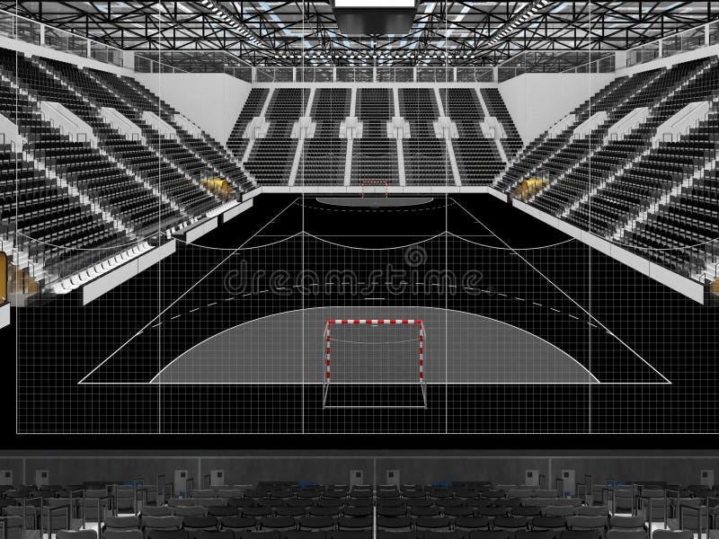 手球的美好的竞技场与黑位子和VIP箱子- 3D回报 向量例证