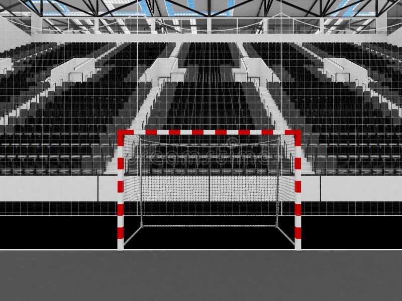 手球的美好的竞技场与黑位子和VIP箱子- 3D回报 库存例证