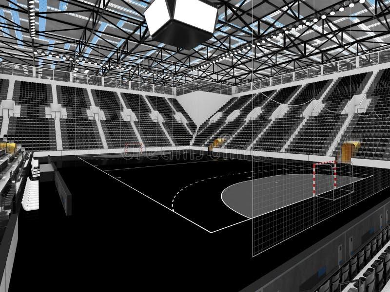 手球的美好的竞技场与黑位子和VIP箱子- 3D回报 皇族释放例证
