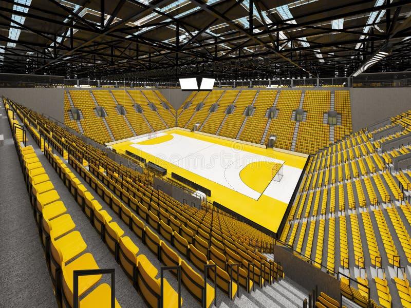 手球的美好的竞技场与黄色位子和VIP箱子- 3d回报 库存例证