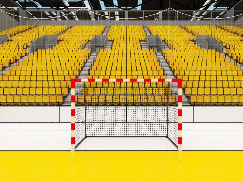手球的美好的竞技场与黄色位子和VIP箱子- 3d回报 皇族释放例证