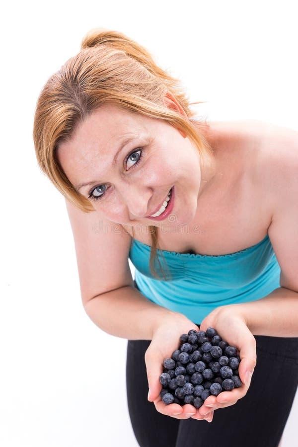 手用蓝莓 免版税图库摄影