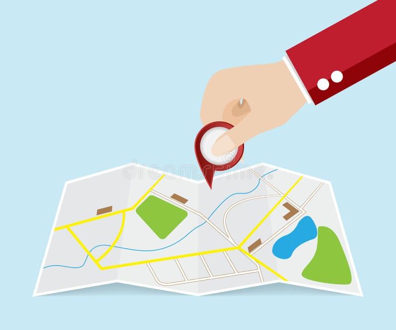 Download 手用途映射的尖别针 向量例证. 插画 包括有 途径, 标记, 方向, 图标, 街道, 指针, 安排, 例证 - 72350599