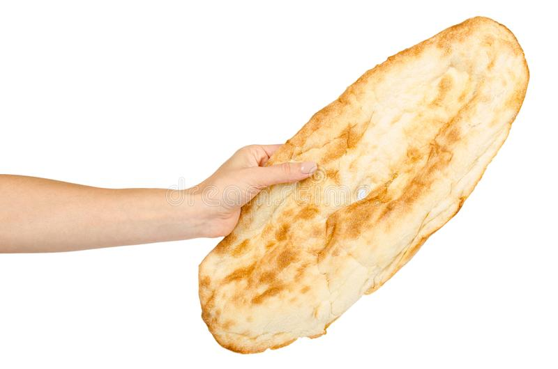手用金黄皮塔面包,东部食物文化 库存照片