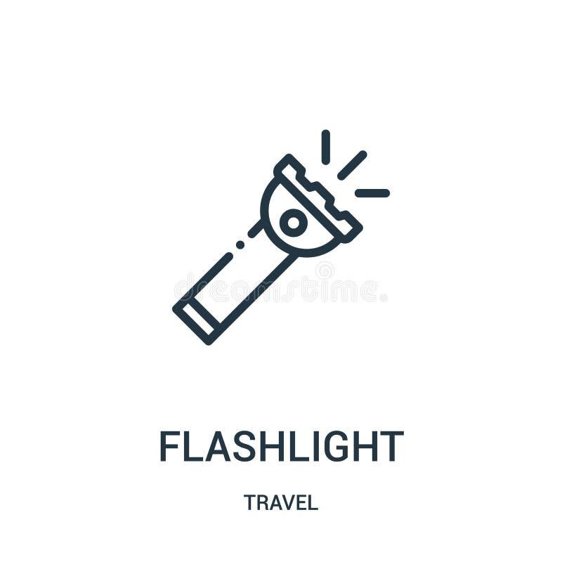 手电从旅行汇集的象传染媒介 稀薄的线手电概述象传染媒介例证 r 向量例证