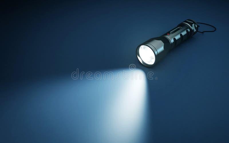 手电和光柱在黑暗的背景的 向量例证