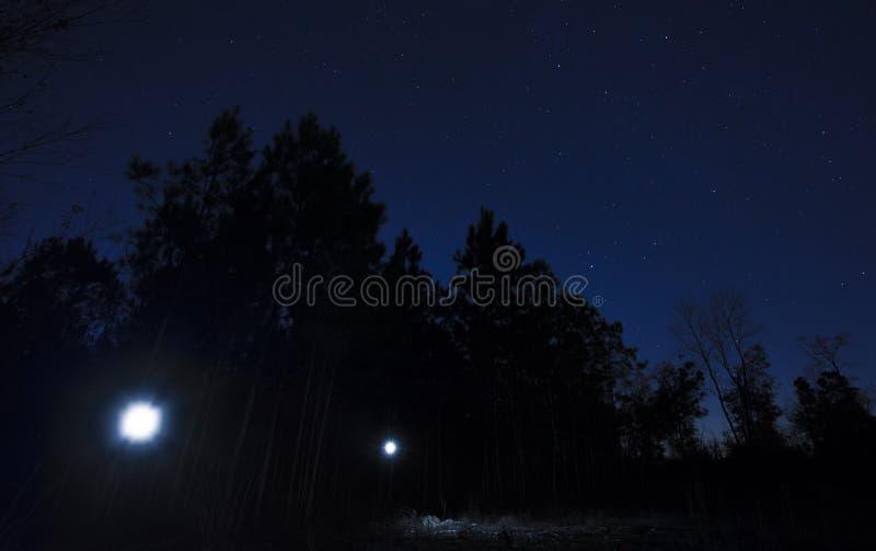 手电在繁星之夜 图库摄影