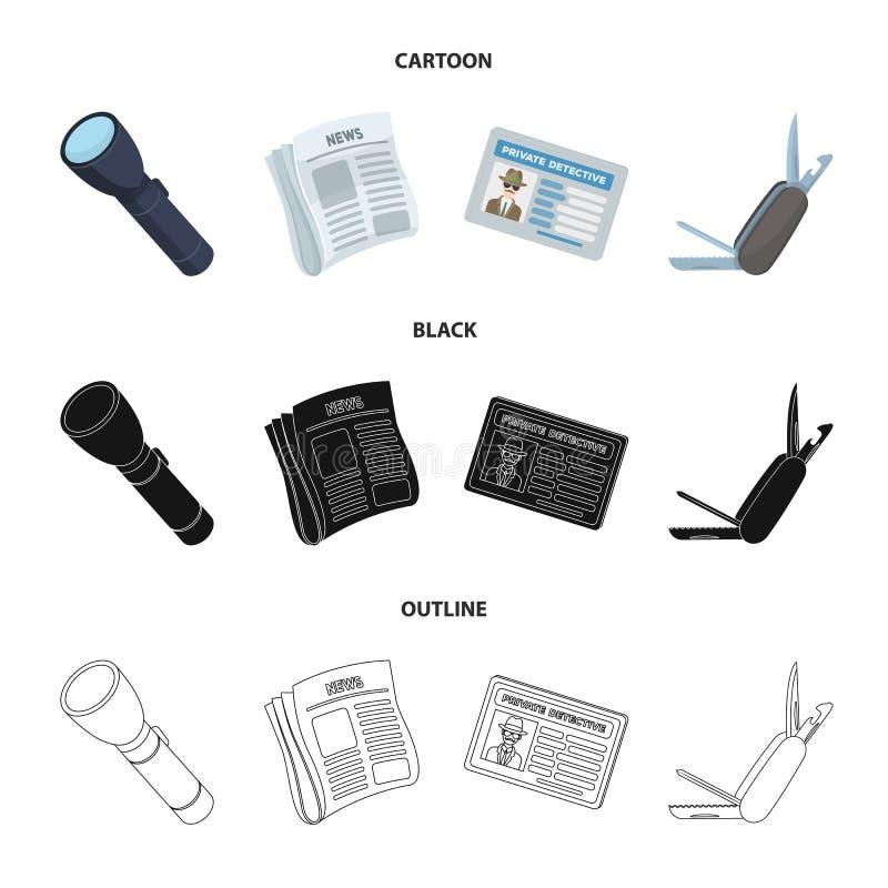 手电,与新闻的报纸,证明,折叠的刀子 在动画片,黑色,概述的探员集合汇集象 皇族释放例证