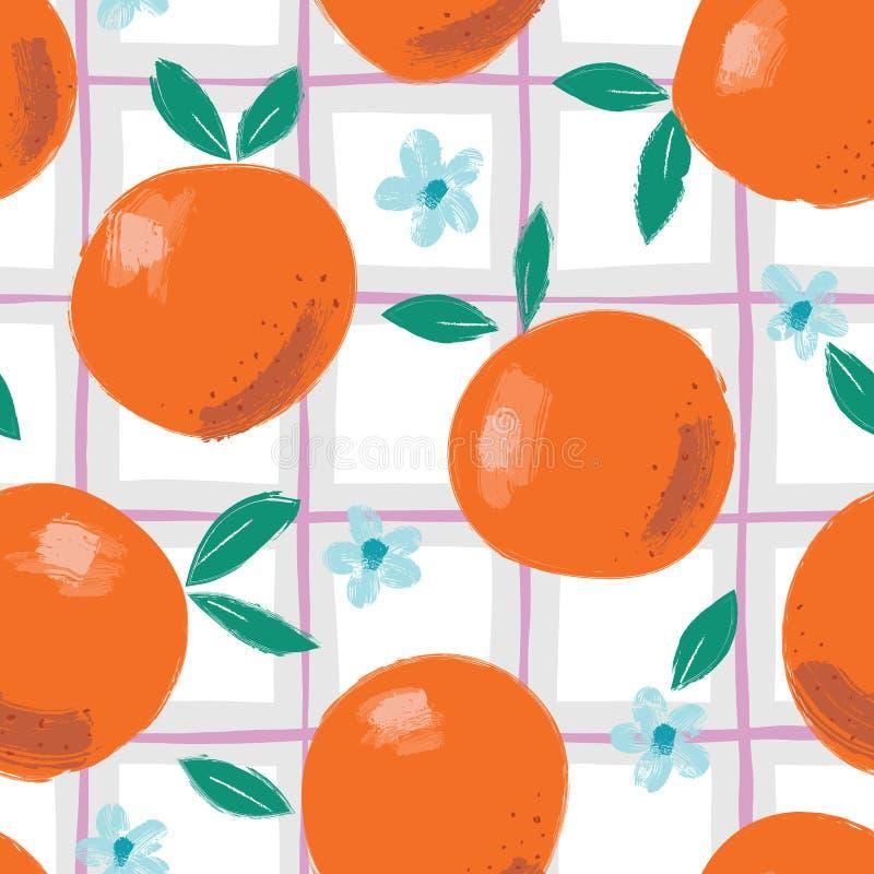 手画五颜六色的抽象桔子、花和叶子在格子花呢披肩背景 夏天果子导航无缝的样式 向量例证