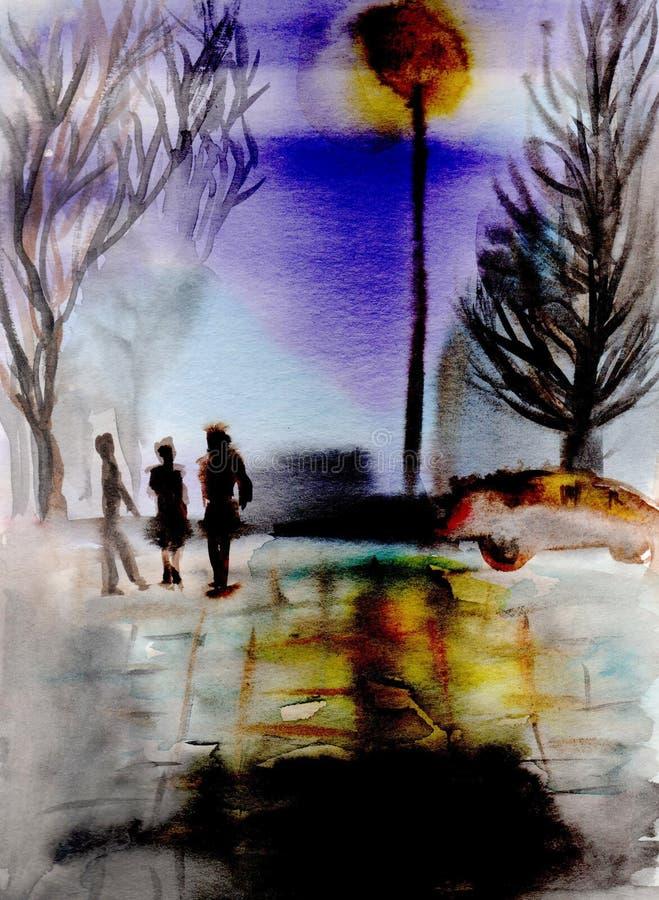 手画例证 与晚上街道、汽车和人的都市风景 纸水彩 库存例证