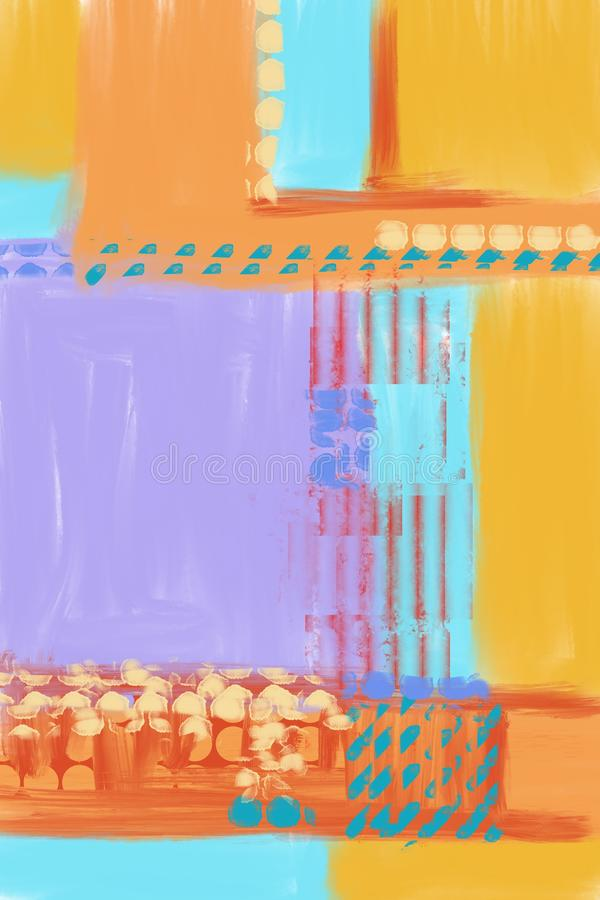 手画和拉长的原始的抽象派背景,完全现代绘画 许多五颜六色的油漆刷子冲程  孔特 向量例证