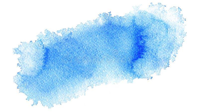 手画在织地不很细纸的水彩摘要软的浅兰的网横幅背景 库存例证
