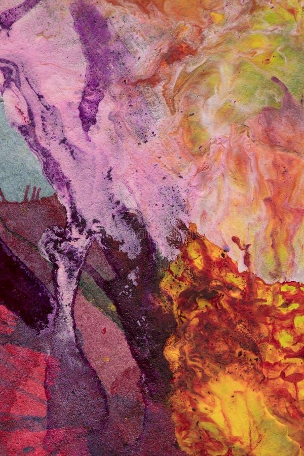 手画抽象树胶水彩画颜料 库存图片