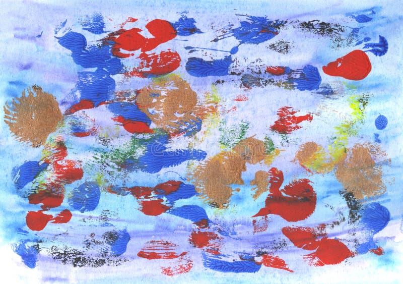 手画抽象的背景 丙烯酸酯和水彩的混合 设计的装饰混乱五颜六色的纹理 手拉的pictur 皇族释放例证