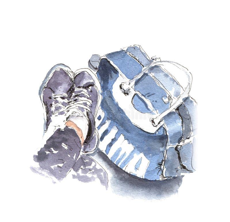 手画水彩剪影例证运动鞋和体育b 向量例证