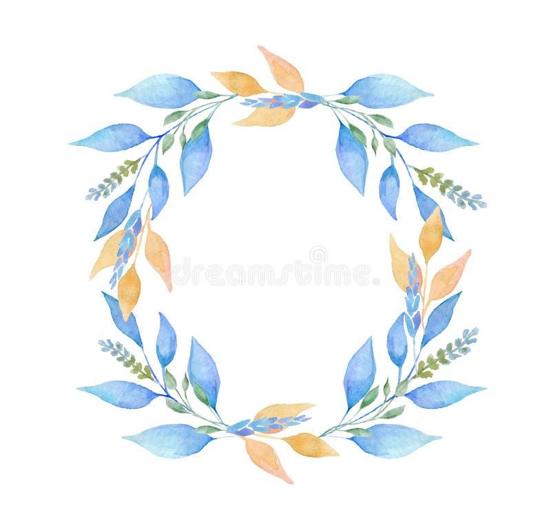 手画水彩圆的叶子花圈 库存例证