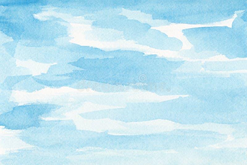 手画水彩天空和云彩,抽象水彩背景,被扫描的例证 库存例证