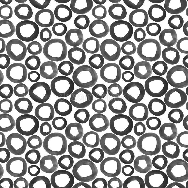 手画水彩形状 无缝的模式 库存例证