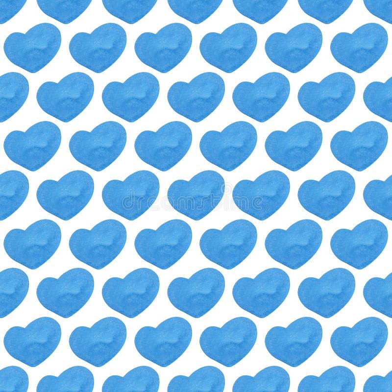 手画水彩心脏 无缝的模式 向量例证