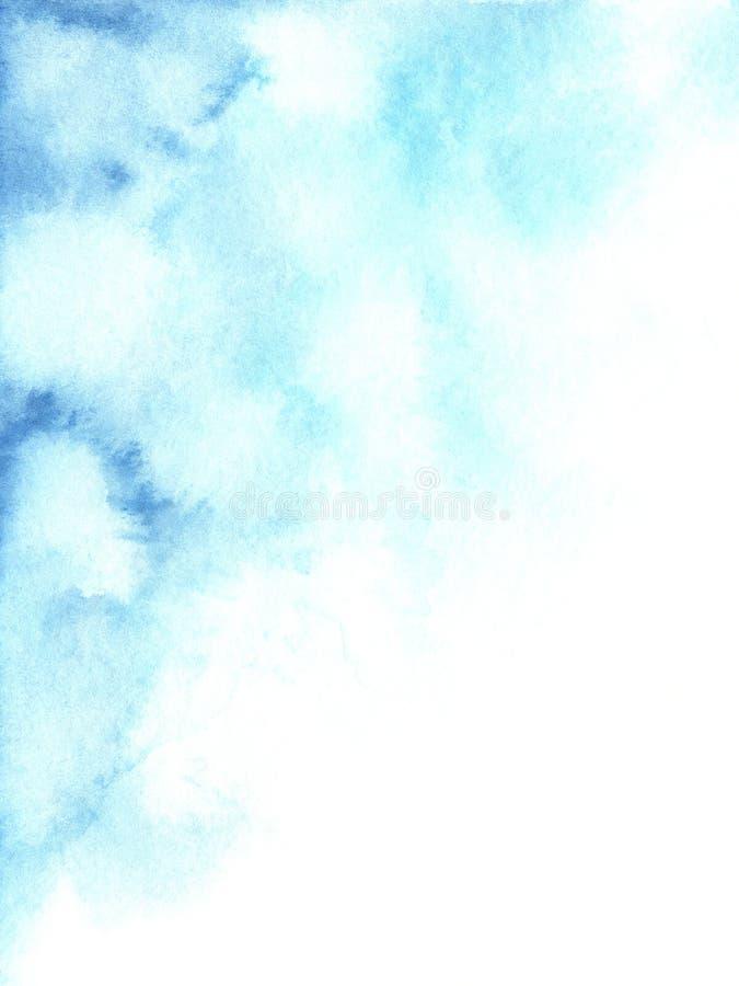 手画水彩摘要蓝色和白色梯度背景 库存例证