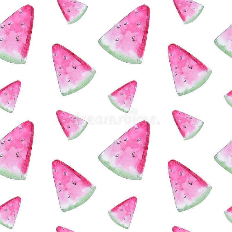 手画水彩桃红色西瓜无缝的样式 库存例证