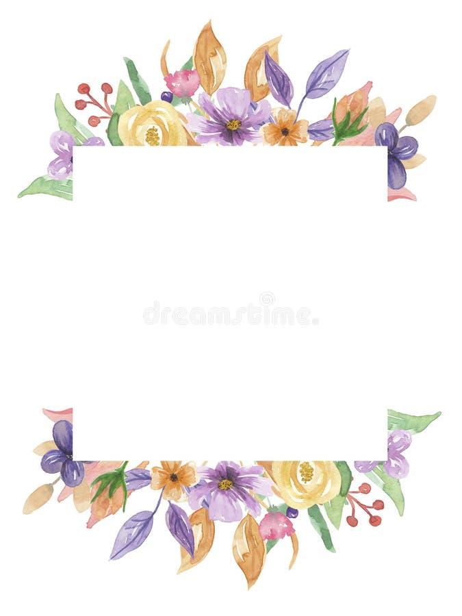手画水彩紫色框架正方形淡紫色花圈夏天花的桃红色 皇族释放例证