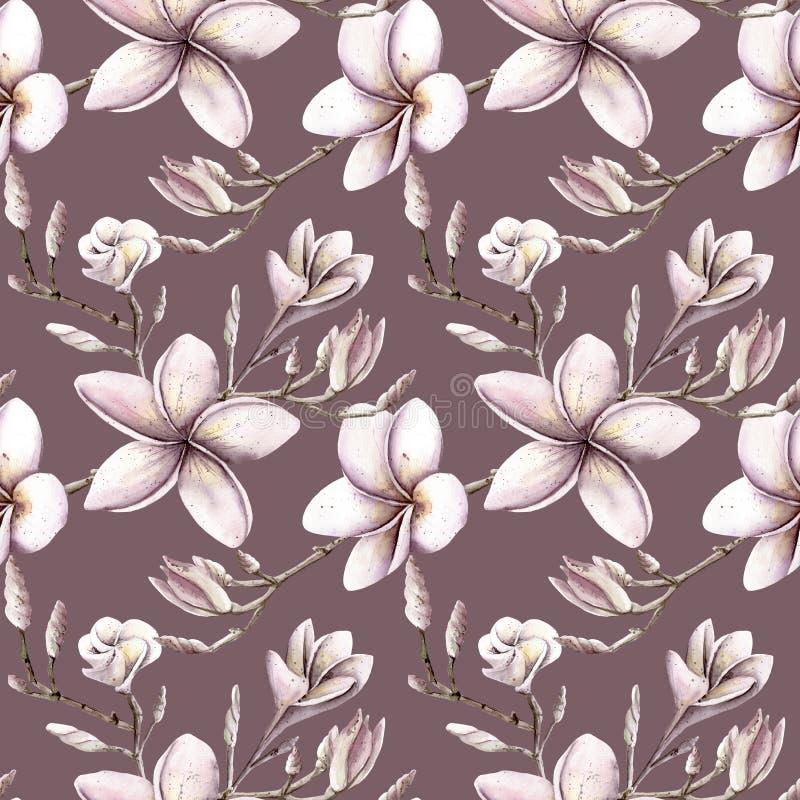 手画水彩花卉样式桃红色紫色上色seamle 向量例证