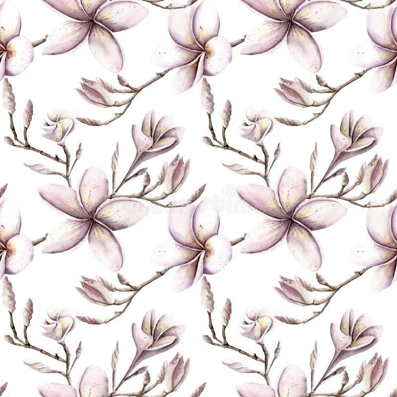 手画水彩花卉样式桃红色紫色上色seamle 库存例证
