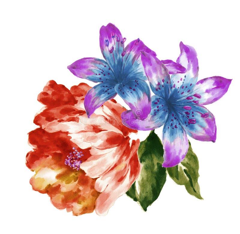 手画水彩花材料,美好的压印的样式,欧洲样式纹理阴影 免版税图库摄影