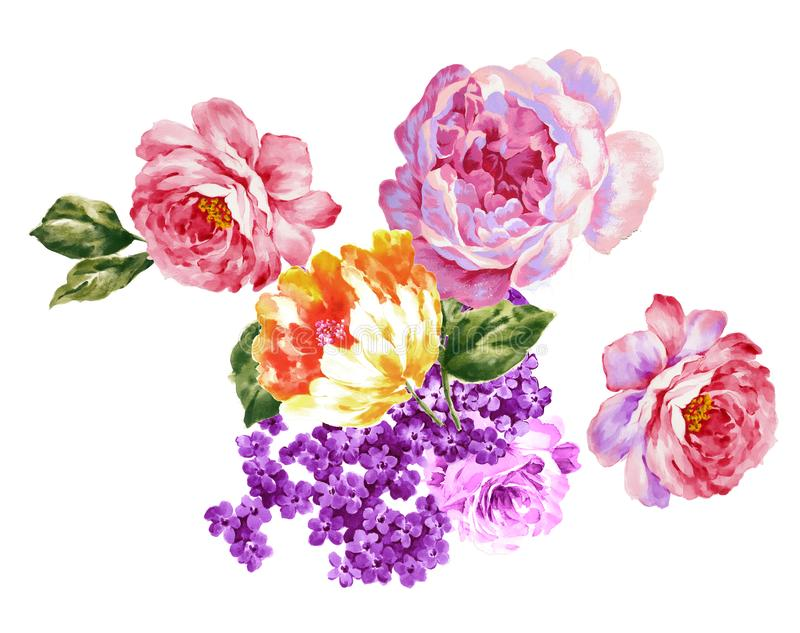 手画水彩花材料,美好的压印的样式,欧洲样式纹理阴影 免版税库存图片
