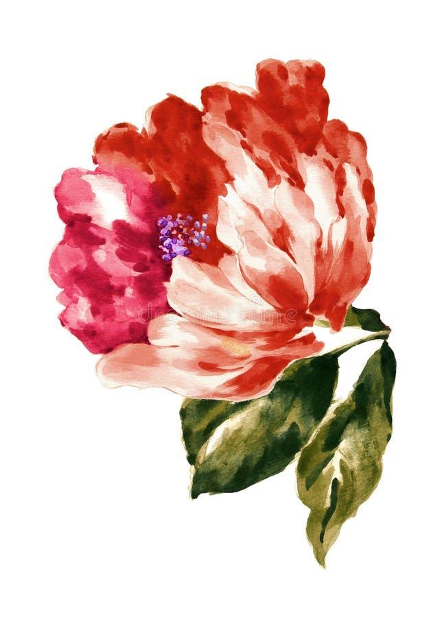 手画水彩花材料,美好的压印的样式,欧洲样式纹理阴影 免版税库存照片