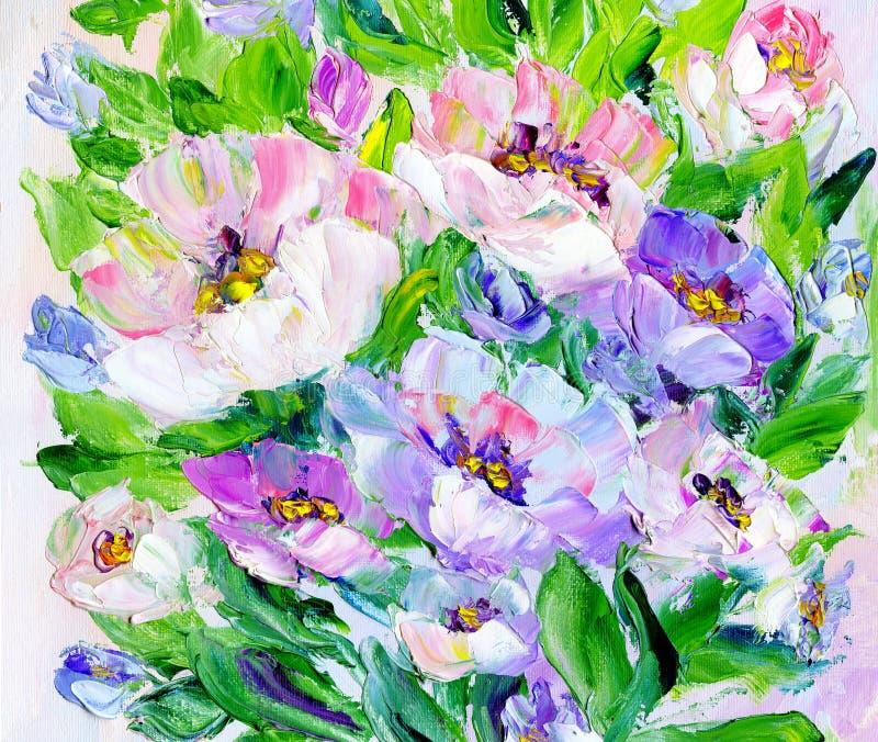 手画现代样式桃红色和紫色花 向量例证